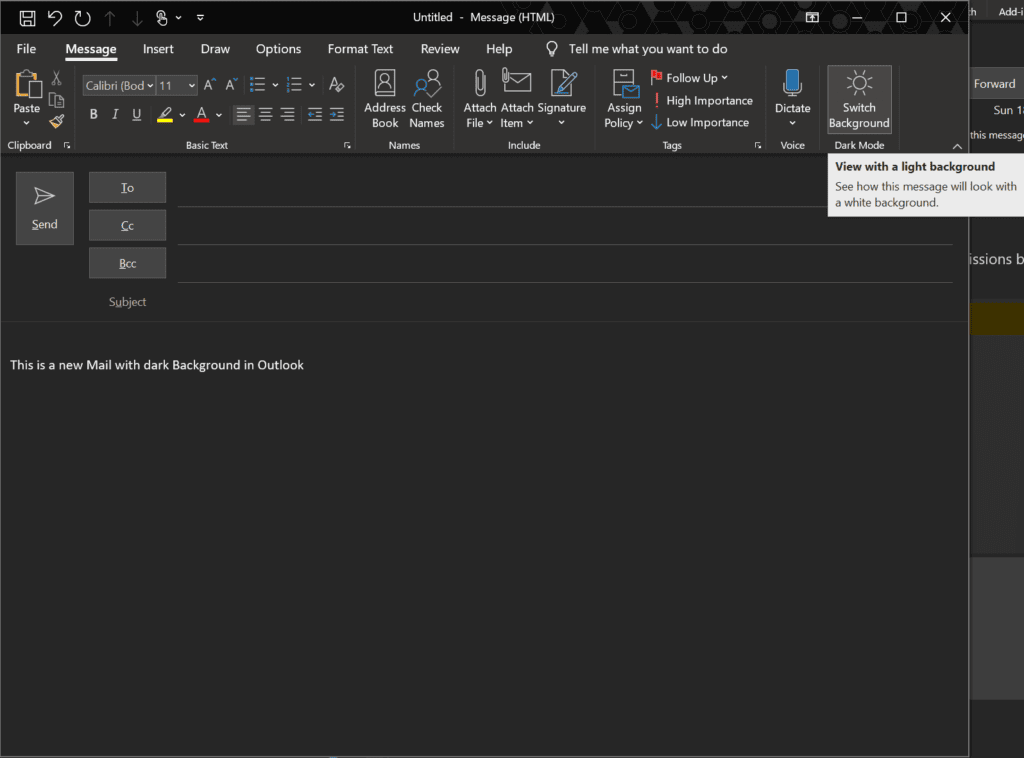 Outlook Dark Mode - compose new eMail
