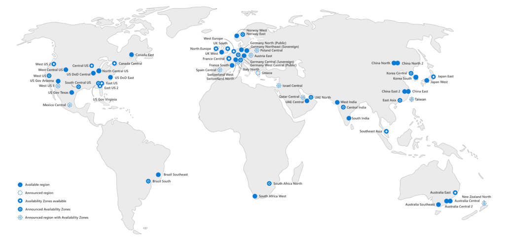 Microsoft Datacenter Regions globally